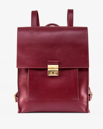 Burgundy Backpack Briefcase Italian Leather Cherry Red Smooth Front picture1.jpeg
