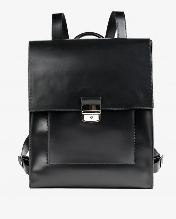 Black Leather Backpack Briefcase Smooth Italian Leather Main picture.jpeg
