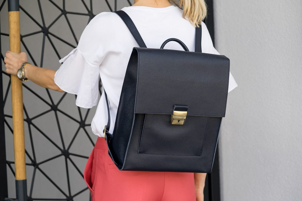 Blue Leather Backpack Briefcase Diana Florian Outside image Open door.jpeg