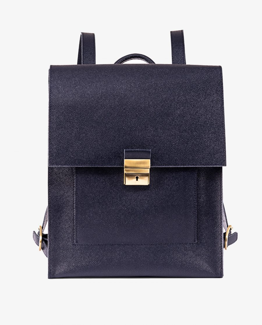 Blue Leather Backpack Briefcase Italian Saffiano First picture gr