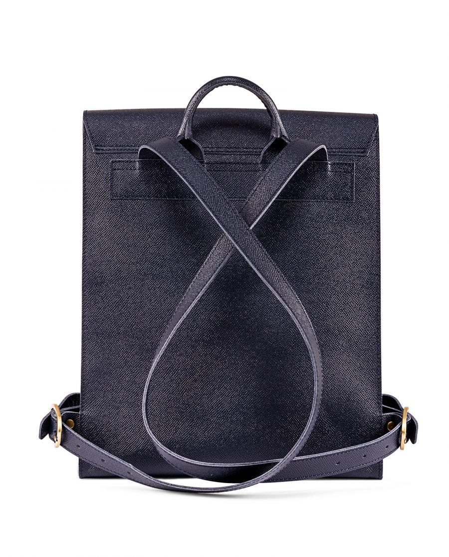 Blue Leather Backpack Briefcase Italian Saffiano Reverse side