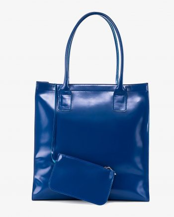 Blue Leather Shopper Bag Patent Leather Main picture gr.jpeg