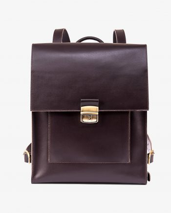 Brown Leather Backpack Briefcase Smooth Italian Calfskin Main picture gr.jpeg