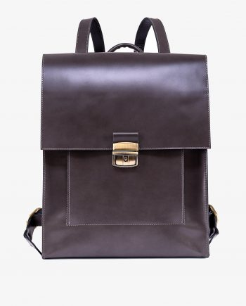 Gray Leather Backpack Briefcase Smooth Italian Calfskin Main image gr.jpeg