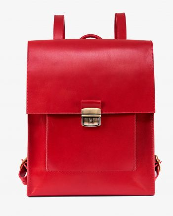 Red Leather Backpack Briefcase Smooth Calfskin First picture1.jpeg
