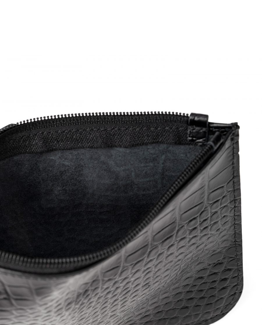 Black Leather Pouch Croco Embossed Italian Calfskin Inside No lining