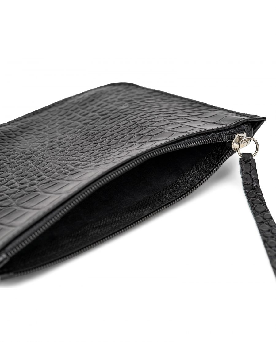 Black Leather Pouch Croco Embossed Italian Calfskin Leather Pull
