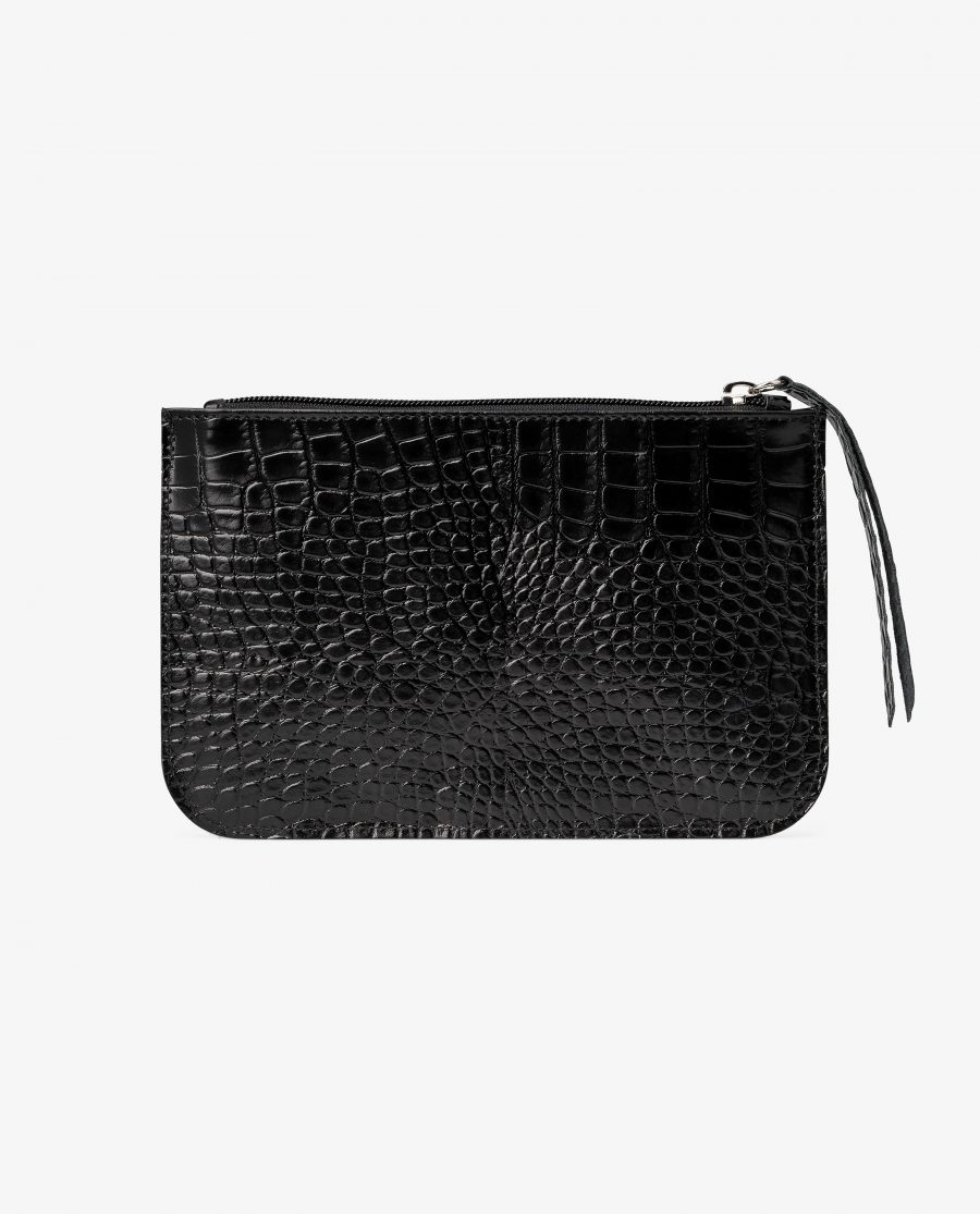 Black Leather Pouch Croco Embossed Italian Calfskin Main picture