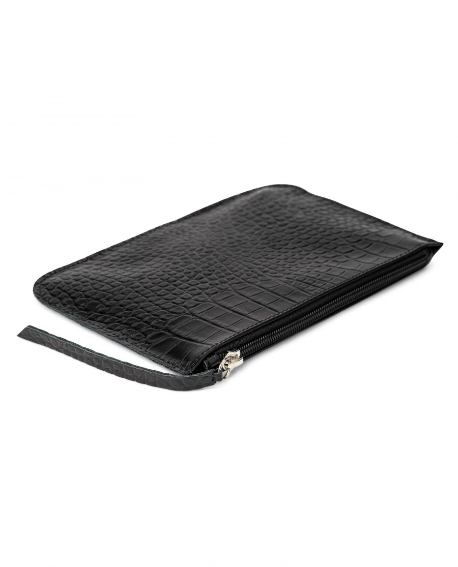 Black Leather Pouch Croco Embossed Italian Calfskin Zip pull