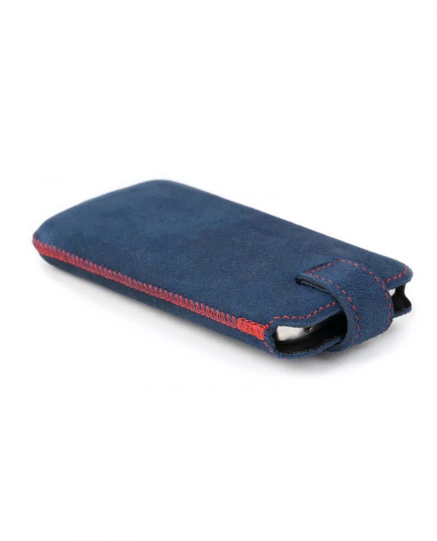 Blue Suede Iphone se 6 6s 7 8 Leather Case Front image With phone