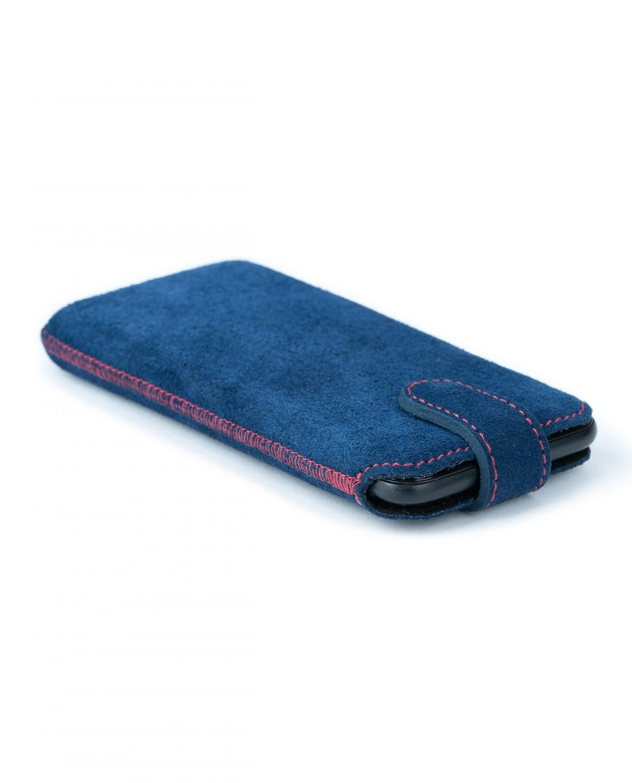 Blue Suede iPhone 6 6s 7 8 Leather Case Italian calfskin With phone inside