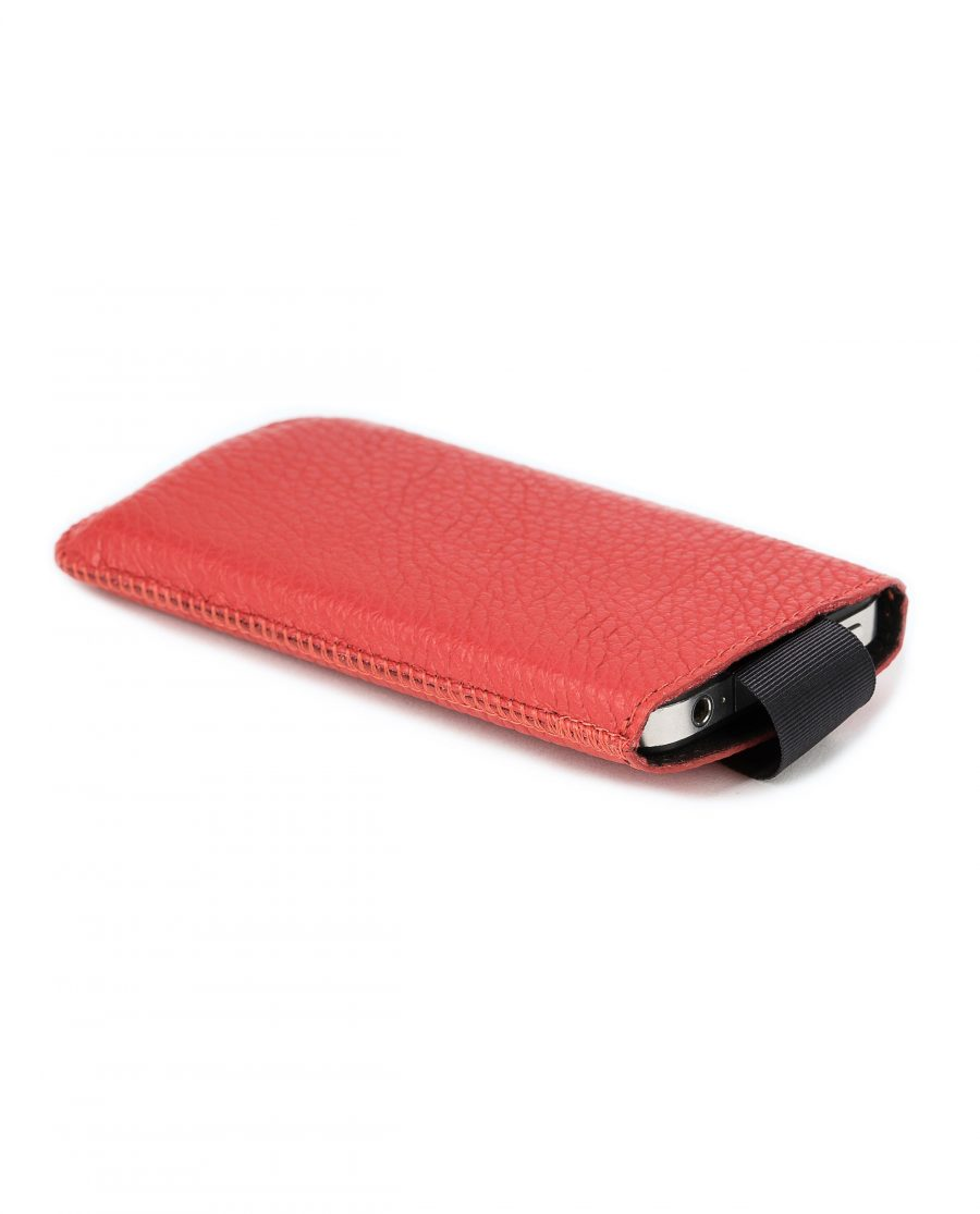 Iphone se Leather Case Red Italian Cowhide Main picture Phone inside