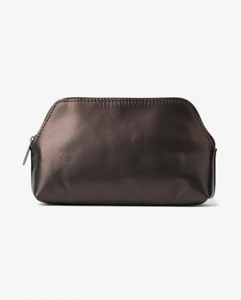 Makeup Pouch in Brown Anthracite Leather Genuine Calfskin Main picture.jpeg