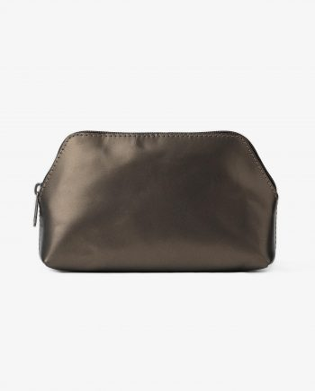 Makeup Pouch in Green Anthracite Leather Main picture.jpeg