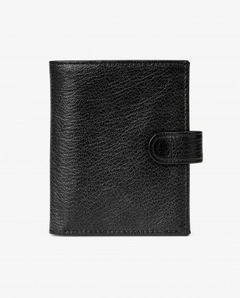 Mens Black Leather Wallet Snap Closure Italian Calfskin Main picture.jpeg