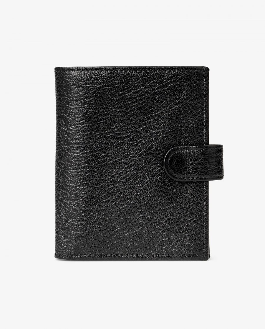 Mens Black Leather Wallet Snap Closure Italian Calfskin Main picture