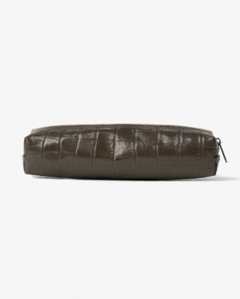 Men's Leather Pencil Case in Green Croco Italian calfskin Main picture.jpeg