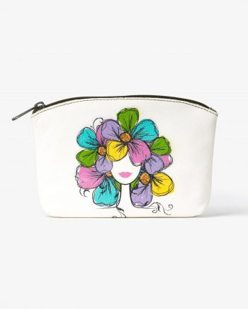 Olive Green Makeup Pouch with Print White Genuine Leather Main Image.jpeg
