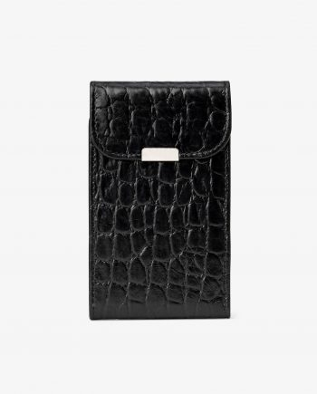 Black Croco Leather Credit Card Case First image.jpeg