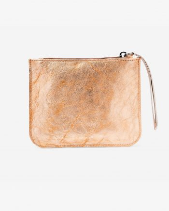 Gold Peach Small Leather Pouch Italian calfskin First image.jpeg
