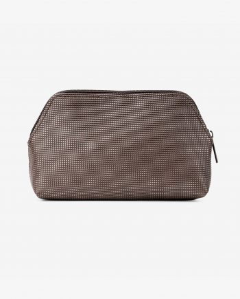 Mens Travel Toiletry Bag in Brown Leather Embossed First image.jpeg