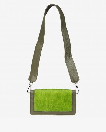 Olive Green Calf Hair Leather Clutch Bag Main picture.jpeg
