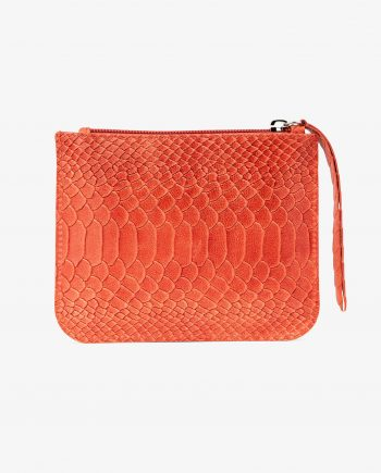 Orange Leather Pouch Embossed Python Calfskin Flat wallet bag organizer First picture.jpeg