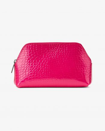 Small Cosmetic Bag in Pink Croc Leather Emboss Main image.jpeg