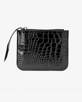Small Flat Pouch in Black Croco Leather Main image.jpeg