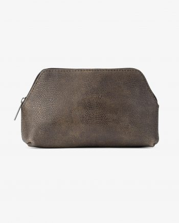 Snake Leather Toiletry Bag for Men Olive green Main picture.jpeg
