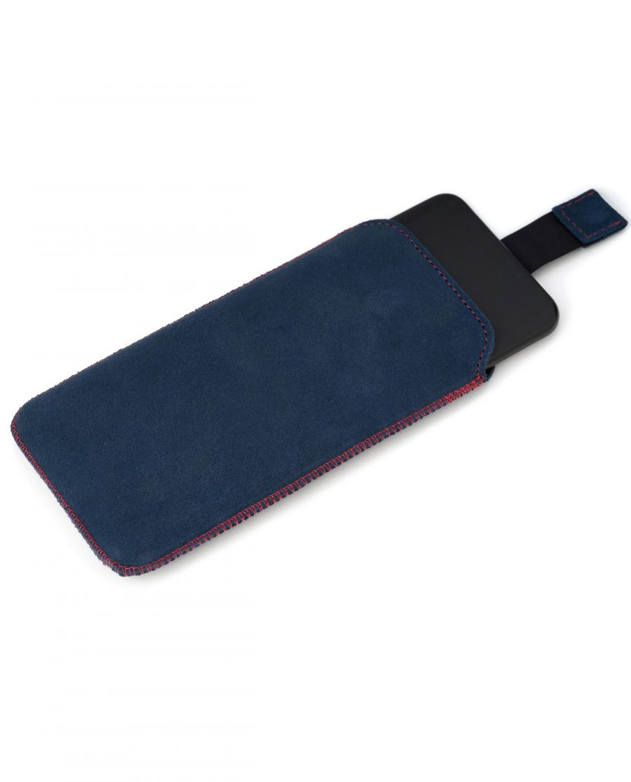 iPhone XS Max Sleeve Case in Blue Suede Leather Diana Florian Pull out strap
