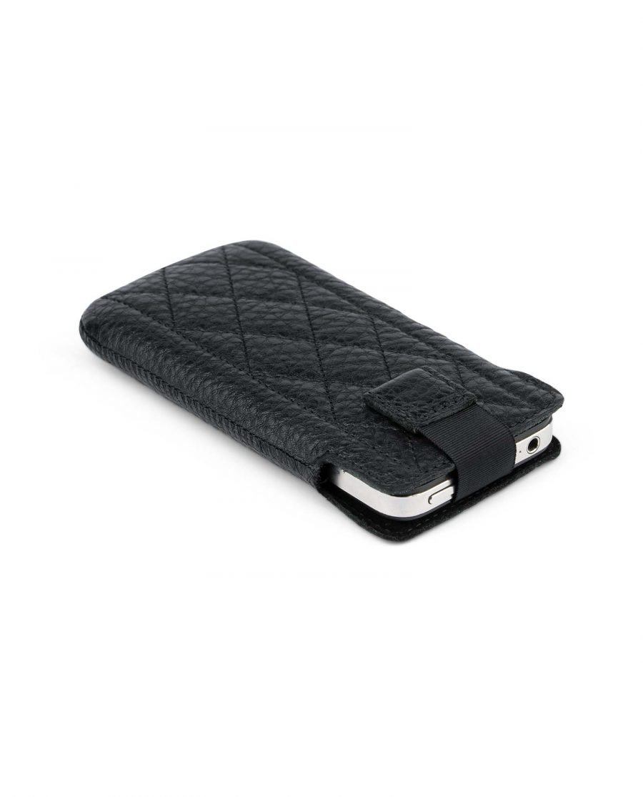Black iPhone 5 5c 5s SE case Quilted Leather Pull out
