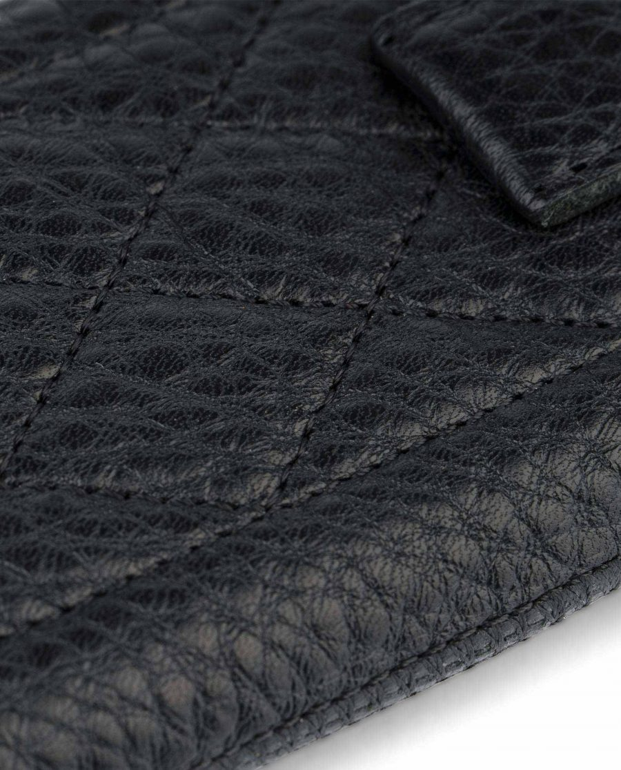 Black iPhone 5 5c 5s SE case Quilted Leather Zoom