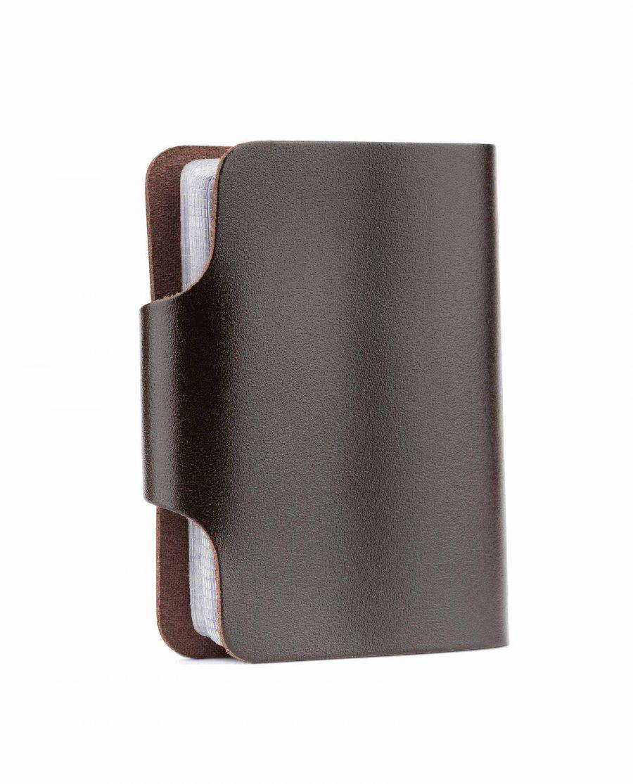 Dark Brown Leather 20 Credit Card Case Back side