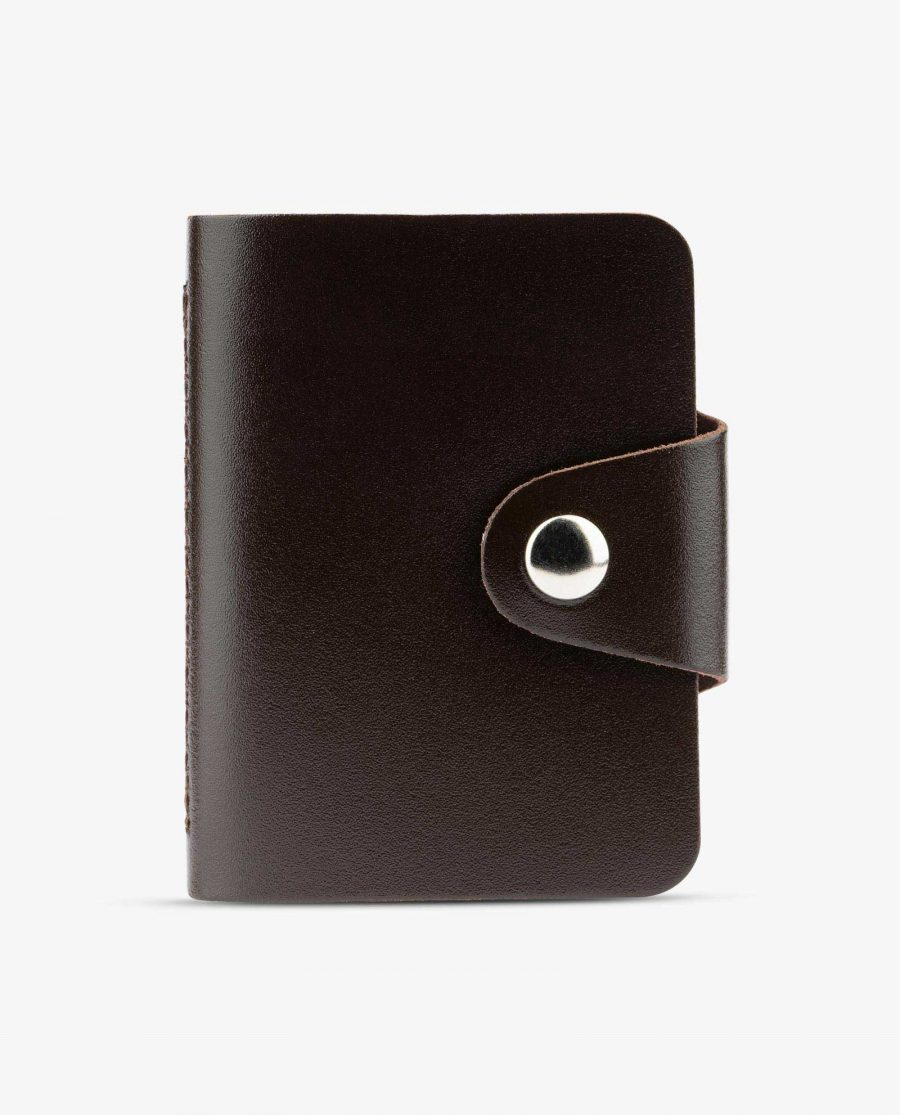 Dark Brown Leather 20 Credit Card Case Diana Florian