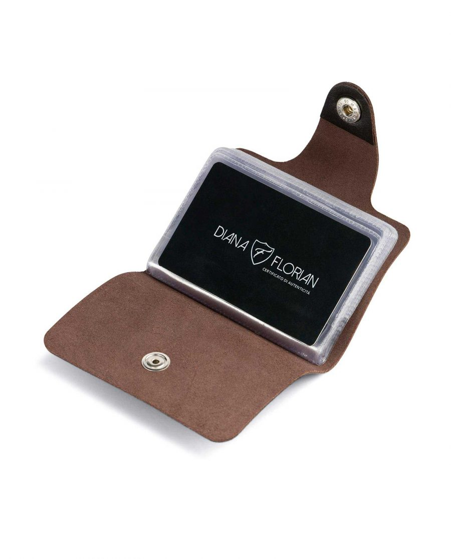 Dark Brown Leather 20 Credit Card Case Opened